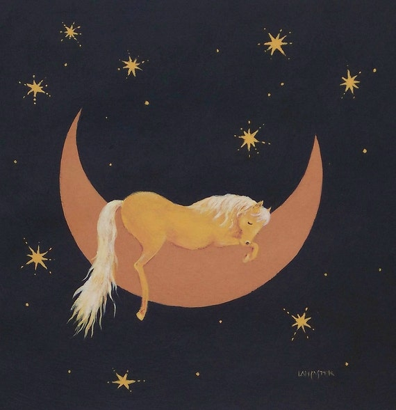 Horse art Sweet Sleep palomino horse painting  print