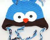 Crocheted Blue Owl Hat