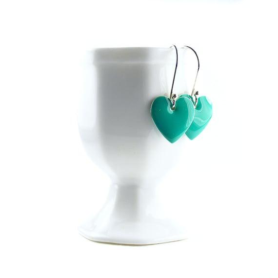 Enamel Heart Earrings, Handcrafted Sterling Silver Dangle Earrings, Jade Green Heart Drops, Handmade Silver Earrings, Green Earrings