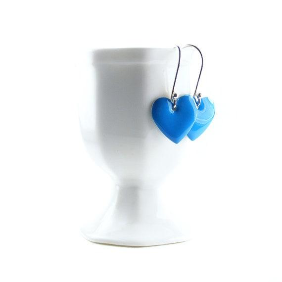 Blue Enamel Heart Earrings, Handcrafted Sterling Silver Dangly Earrings, Enamelled Royal Blue Heart Earrings