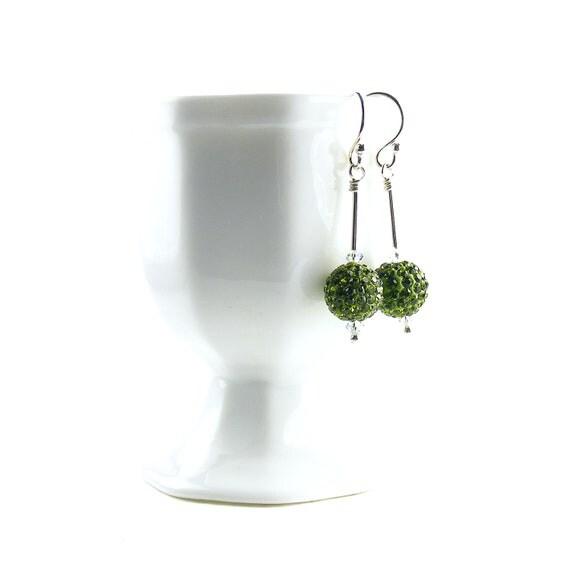 Disco Ball Earrings, Leaf Green Sterling Silver Dangle Earrings, Handmade Swarovski Crystal Drop Earrings