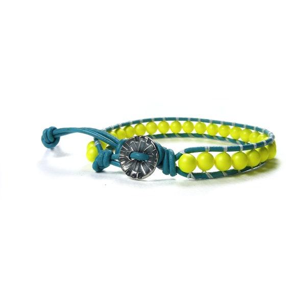 Neon Leather Wrap Bracelet, Yellow Neon Swarovski Pearls & Turquoise Leather, Single Wrap Bracelet, Handmade Beaded Leather Cuff