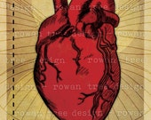 MY HEART SOARS Printable Art Anatomical Heart 4x6in Digital Collage - no. 0185