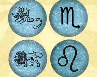 Digital Collage Sheet THE ZODIAC 1.5in or 1in Circles Astrological Symbols - no. 0117