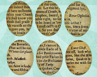 TEXTS FROM SHAKESPEARE Digital Collage Sheet 30x40mm Ovals - no. 0072