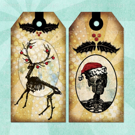 GOTHIC CHRISTMAS Printable Tags and Bookmark Digital Collage Sheet - no. 0105