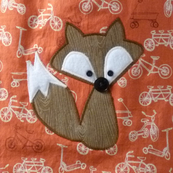 Fox Baby Bib on Orange Bicycles - Appliqued Bib with Snaps