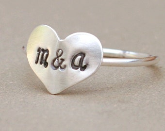 heart ring with initials. personalized initial ring. sterling silver. friendship and love. best friend ring. sisters gift. personalized ring