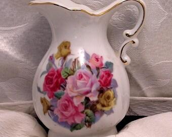 Vintage Porcelain Rose Pitcher  Scented Oil Warmer Nite Lite by Irice