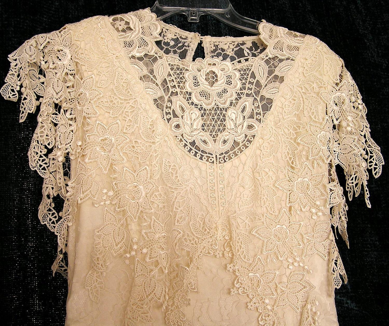 Vintage 1980s Jessica McClintock Ivory Lace Wedding by