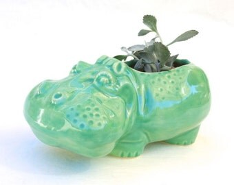 Hippo Planter in Stoneware with Mint Green Glaze