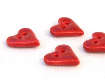 Heart Ceramic Buttons (4) Porcelain with Red Glaze
