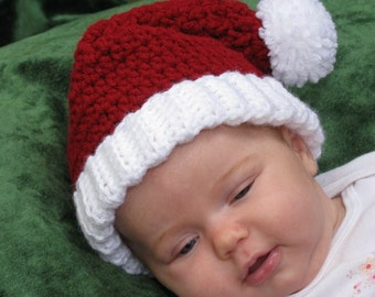 "Santa Hat  (15"" stretches to 17"" (fits an average 3-6 mo. baby)"