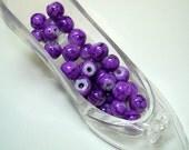 Purple Splashed Round Glass Beads (Qty 35) - B1628