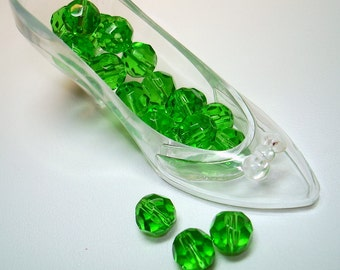 Green Faceted Glass Round Beads (Qty 20) - B1438
