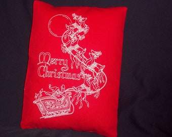 723  Merry Christmas ascending sleigh  pillow