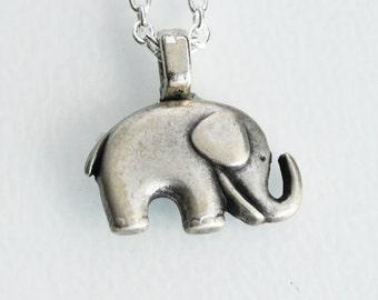 Silver Elephant Necklace - Cute elephant charm  (R2D3)