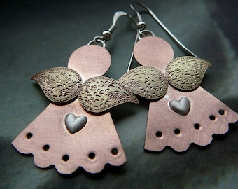 Little Angel earrings - brushed copper, sterling silver and brass