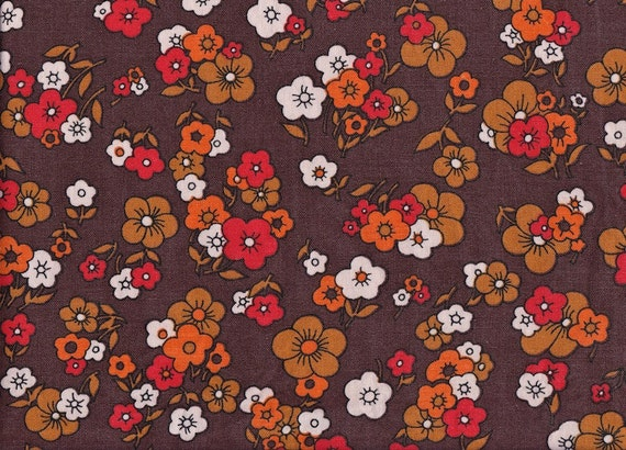 Vintage 1970s Small Flowers on Brown Fabric
