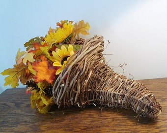 Cornucopia, Rustic,Wicker , Handmade, Wedding or Holiday Decor -Ready To Ship, Basket, Wisteria, WC