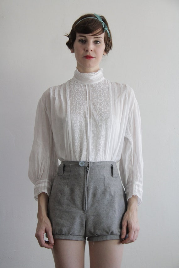 RESERVED . Antique Blouse . White Top . Shirt . Late 1800s . GIBSON GIRL