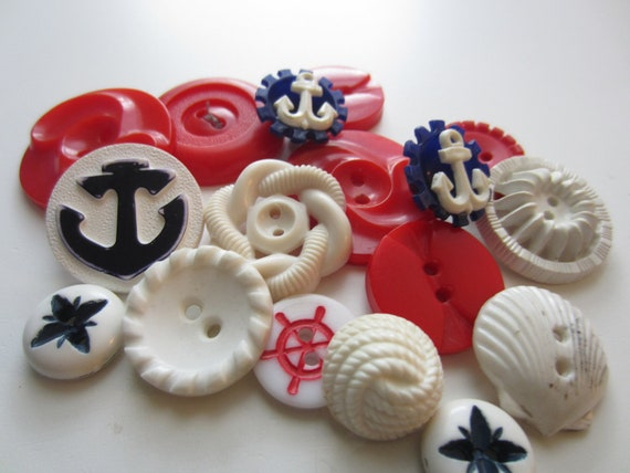 Vintage Buttons - Cottage chic mix of nautical red, white and blue, old and sweet - 16 total (2832)