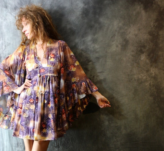 Vintage 1970s Hippie Bohemian Ruffle Angel Sleeve Dress Floral Sunset 15% off sale Coupon Code Sunflower7