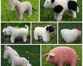 Farm Animals E-Book PDF, knitting, Instant Digital Download