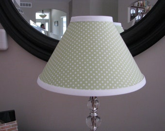 Green and White polka Dot Lamp Shade