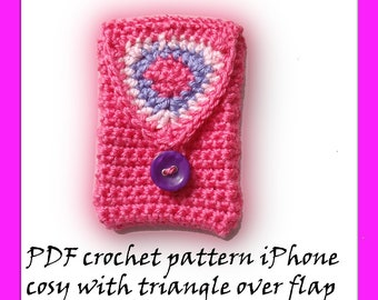 PDF crochet pattern iPhone cosy with triangle over flap  by Fibreromance No 13