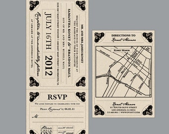 Rustic Wedding Invitations - Vintage Antique Victorian Rustic Cottage Chic Flourish Border Train Ticket Wedding Invitations Invites