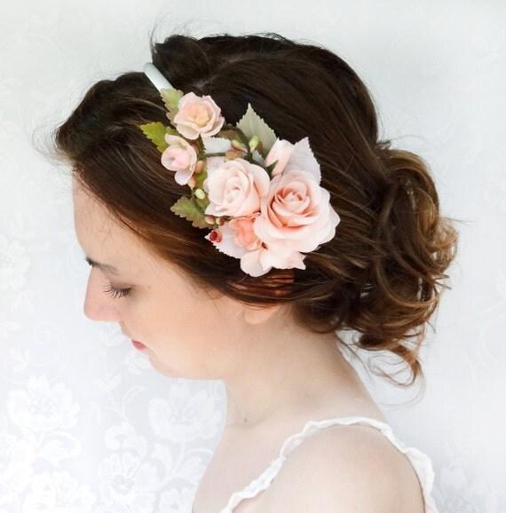 Black Flower Hair Accessory J7213: Items Similar To Blush Pink Flower Headband, Bridal Flower