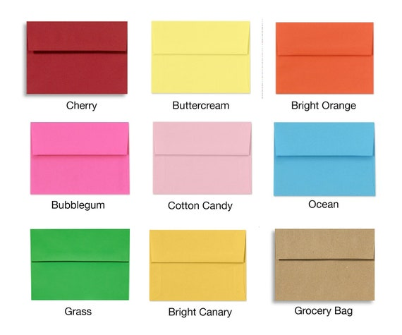 Set of 60 A7 Envelopes - Perfect for 5x7 Photos or Cards - Choose A Color - IN STOCK