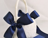 Navy and Ivory Flower Girl Basket - Alencon Lace Flower Girl Basket