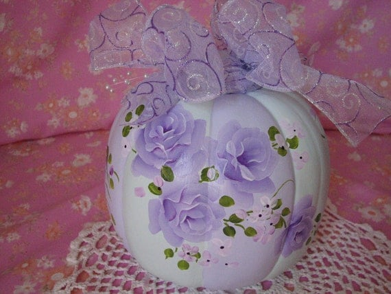 Faux Autumn Pumpkin Hand Painted Chic Lilac Purple Roses, Pearls Fall Lavender Decor