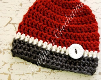 Newborn Button Beanie... Photography Prop... Ready to ship