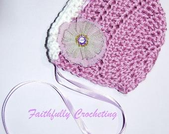SALE....Soft Purple Newborn Bonnet... Flower Hair Clip... Photography Prop