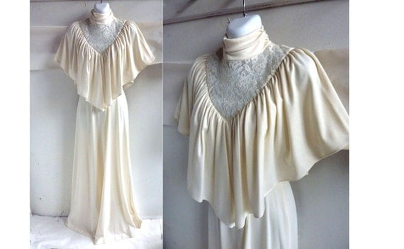 Vintage 70s Dress Size 32 Chest Ivory Lace Cape Shawl Disco Maxi Jersey Knit
