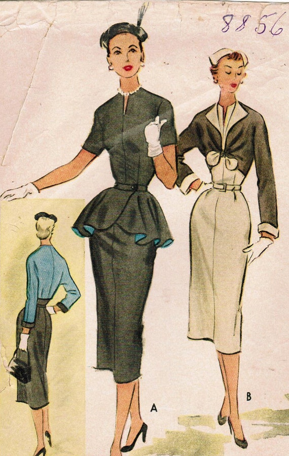 1950s McCall's 8856 Vintage Sewing Pattern Misses' Dress, Spencer, and Detachable Peplum Size 14 Bust 32