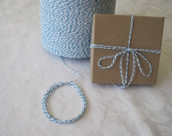 10 Yards Cotton Twine, Blue Twine, Bakers Twine, Colored String, Box Twine, Gift Wrap, Gift Wrapping, On Wood Spool