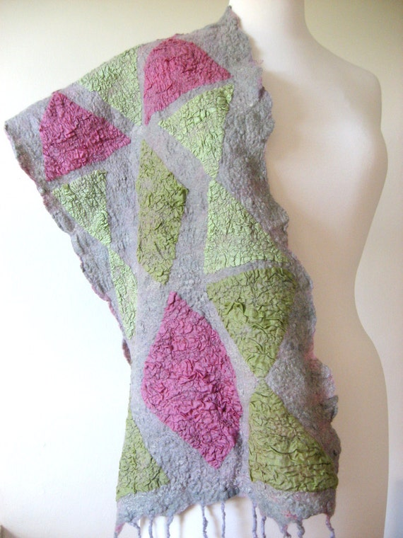 Felted Grey Scarf  Geometric