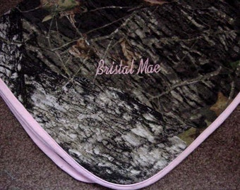Realtree APG HD Print Camo Camouflage Pink trim Blanket Baby Infant Newborn Personalized Girl