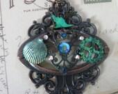 Unique Teal Steampunk Pendant Necklace