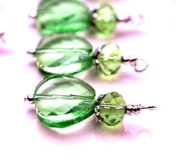 Green Checkerboard Cut Wavy Coin Crystal Bead Dangle Charm Drop Set - 4 Pieces