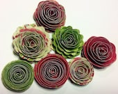 Christmas Posies Set of 7 Handmade Spiral Flowers