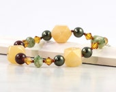 Yellow Jade Bracelet Green Brown Honey Gold Topaz Crystal Rustic Sterling Toggle Leaf Clasp