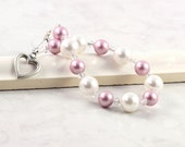 White Pearl Bracelet Pink Pastel Dusty Rose Mauve Crystal Bridal Jewelry Spring Fashion Sterling Heart Prom Jewelry