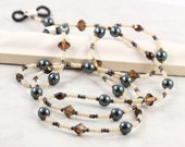 Pearl Eyeglass Lanyard Blue Eyeglass Holder Topaz Eyeglass Chain Brown Eyeglass Leash Beaded Sunglass Lanyard