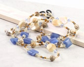 Blue Eyeglass Lanyard Gemstone Beaded Lanyard Seashell Eyeglass Holder Mother of Pearl Eyeglass Necklace Cream Sunglass Lanyard