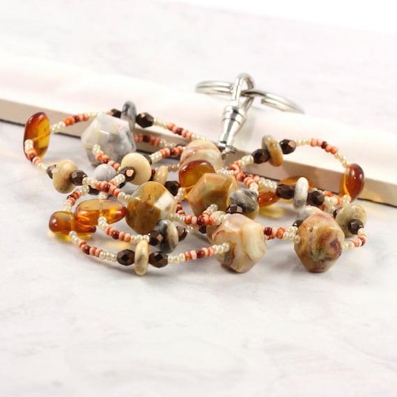 Gemstone Lanyard Amber ID Holder Office Fashion Cream Badge Holder Bronze Agate Beaded ID Necklace